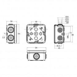 Doza aparenta 80x80x45mm cu presetupe IP65 Famatel