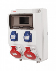 Tablou electric echipat cu 2 prize trifazate 5P 16A + 2 prize monofazate schuko 16A, 9L IP44 Famatel