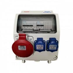 Tablou electric Famatel echipat cu o priza trifazata 5P 32A + 2 prize monofazate schuko 16A, 9L IP44 cu aparataj automat Eaton