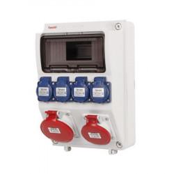 Tablou electric echipat cu o priza trifazata 5P 16A + o priza trifazata 5P 32A + 4 prize monofazate schuko 16A, 12L IP44 Famatel