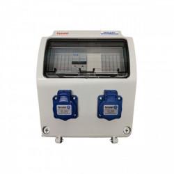 Tablou electric Famatel echipat cu 2 prize monofazate schuko 16A, 9L IP54 cu aparataj automat Eaton