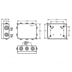 Doza aparenta 225x175x85mm cu presetupe IP55 Famatel