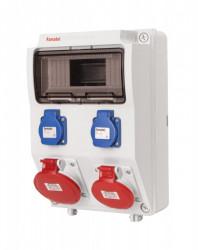 Tablou electric echipat cu 2 prize trifazate 5P 32A + 2 prize monofazate schuko 16A, 9L IP44 Famatel