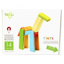 Set 14 piese din lemn magnetic, Tegu Tints