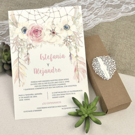 Invitatie de nunta cutie kraft 39608