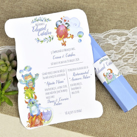 Invitatie de botez etui monster