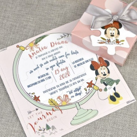 Invitatie de botez puzzle Minnie