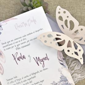 Invitatie de nunta cutie fluture
