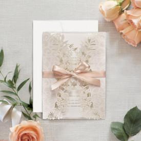 Invitatie de nunta LUX gravata laser
