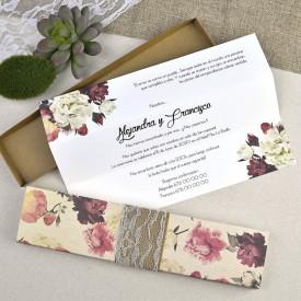 Invitatie de nunta cutie florala
