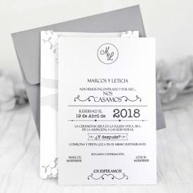 Invitatie de nunta gravura eleganta