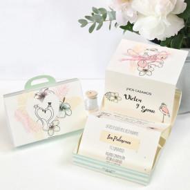 Invitatie de nunta servieta flamingo