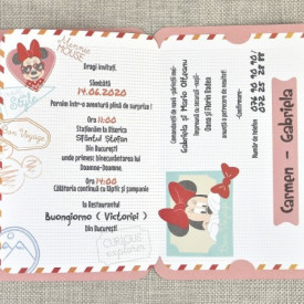 Invitatie de botez pasaport Minnie