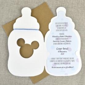 Invitatie de botez biberon Mickey
