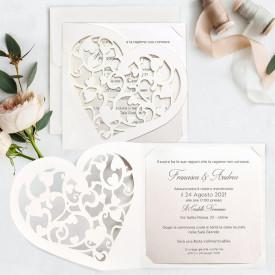 Invitatie de nunta gravura inima