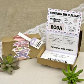 Invitatie de nunta servieta Travel