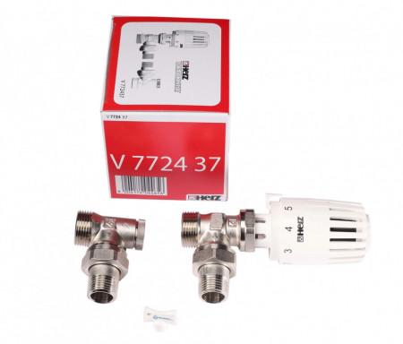 "Set termostatic coltar Herz, alcatuit din cap termostatic Herz Project,robinet termostatic coltar 1/2"" FE si robinet retur coltar 1/2'' RL-1, FE, cod V 7724 37"
