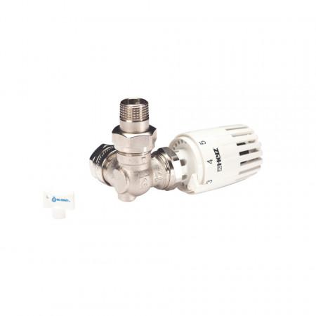 Set termostatic Herz Armaturen alcatuit din robinet cu ventil termostatic in 3 axe (CD), filet exterior, cap termostatic Projekt si conectori ( pentru teava de CU de 15 sau PexAl de 16)