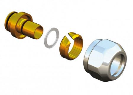 Conector cromat Herz DeLuxe pentru teava de plasitic cu diametru 16x2mm cod S 6066 16