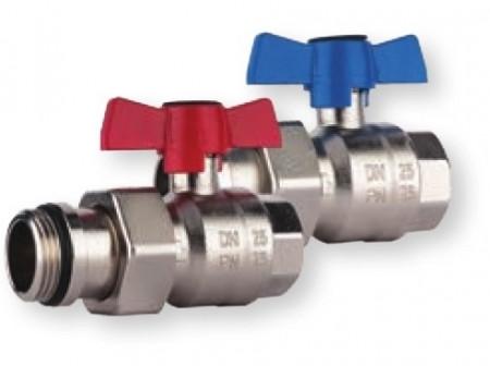 Poze Set robineti drepti cu sfera olandez cu O-ring Herz Armaturen pentru distribuitoare DN25 (1''), PN25