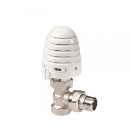 "Set termostatic Herz, alcatuit din robinet cu ventil termostatic Herz TS-90, model coltar, DN15(1/2"") si cap termostatic Porsche Design, cod 19230061772491"