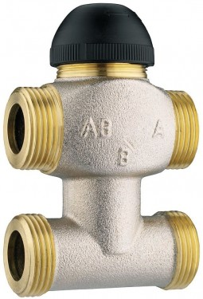 Poze Robinet cu ventil termostatic Herz cu trei căi, cu teu de legătură pe bypas DN15 (filet 3/4'') 1 7763 61 kvs=4