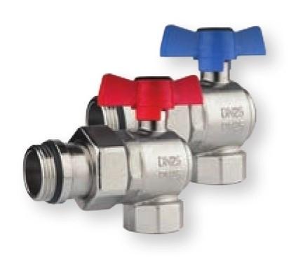 Set robineti coltar cu sfera olandez cu O-ring Herz Armaturen pentru distribuitoare DN25 (1''), PN25