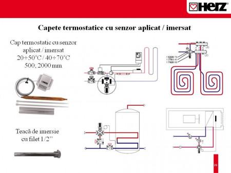 Robinet termostatic cu trei căi, cu distribuţie 100 % pentru instalaţii de răcire şi încălzire Herz Calis-TS-RD DN 25 1 7761 40