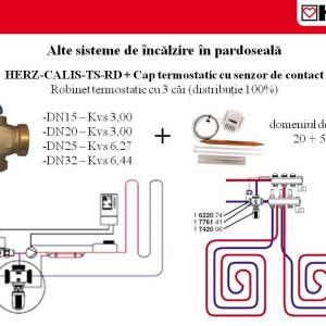 Robinet termostatic cu trei căi, cu distribuţie 100 % pentru instalaţii de răcire şi încălzire Herz Calis-TS-RD DN 20 1 7761 39