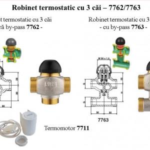 Robinet cu ventil termostatic Herz cu trei căi, cu teu de legătură pe bypas DN10 (filet 1/2'') 1 7763 50 kvs=0.4