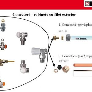 Robinet cu ventil termostatic, model coltar, M30 x 1,5 - 1/2'', FE, cod 1 7734 26 si conector de 15(Cu) sau 16 (PeX)