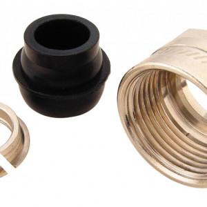 Set termostatic Herz format din robinet cu ventil termostatic model coltar special cu filet exterior, cap termostatic Project si conectori (pentru teava de CU de 15 sau PeXAl 16)