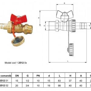 Robinet cu sferă pt.golire Herz cu racord portfurtun cu piuliţă olandeză 1/2 şi capac cu garnitură de cauciuc pentru închidere DN 20 cod 1 2512 02
