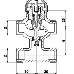Robinet cu ventil termostatic Herz cu trei căi, cu teu de legătură pe bypas DN10 (filet 1/2'') 1 7763 60 kvs=0.63