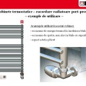 Set termostatic Herz Armaturen alcatuit din robinet cu ventil termostatic in 3 axe, cap termostatic Mini, robinet de retur si conectori
