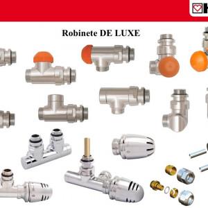 Robinet cu ventil termostatic H3000-TS-Design DeLuxe , model colțar pentru sistem bitubular, cromat, cu prereglare și indicator de poziție S 3691 41