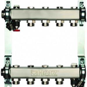 Set distribuitoare inox Herz Armaturen pentru radiatoare, cu inchidere, DN25, G3/4, cu 10 cai, cod 1 8634 10