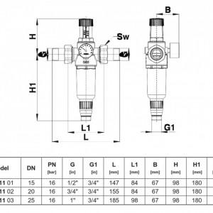 Filtru pentru apa potabila cu reductor de presiune Herz, DN 15, PN16, cod 2 3011 01