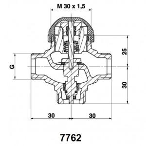 """Robinet cu ventil termostatic cu trei căi, fără teu de legătură pe bypass, pentru amestec şi distribuţie DN 10 (filet ext de 1/2"""") 1 7762 X0"""