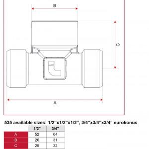 """Teu 1/2"""", filet exterior X interior X exterior, cod 5350012012"""
