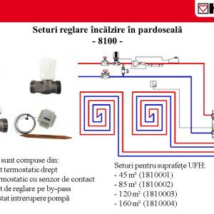 Set de reglare pentru încălzirea în pardoseală pentru încăperi cu suprafața până la 85 mp