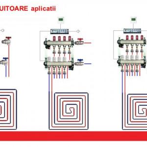 Set distribuitoare inox Herz Armaturen pentru incalzire in pardoseala, plafon sau pereti, cu 9 cai