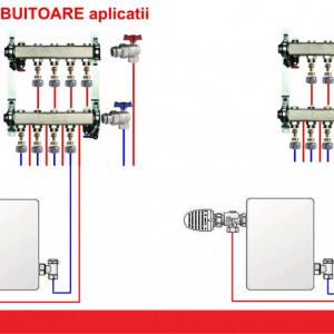 Set distribuitoare inox Herz Armaturen pentru radiatoare, cu inchidere, DN25, G3/4, cu 3 cai, cod 1 8634 03
