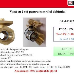 Robinet cu sferă Herz cu două căi și filete interioare, PN 40,DN50, Kvs=50,00 cod 1 2117 16