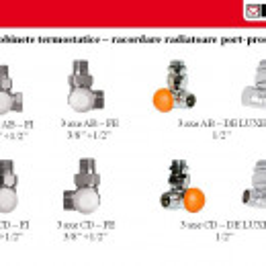 "Set format din robinet cu ventil termostatic Herz , model in 3 axe ""AB"" si cap termostatic Project"