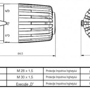 Cap termostatic Herz cu prindere rapida, model Projekt H, M30X1,5, cod 1 7260 18