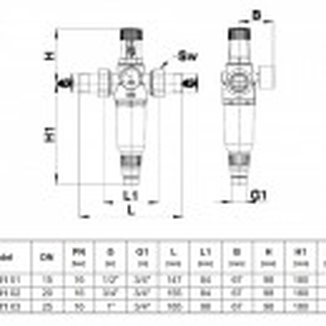 Filtru pentru apa potabila cu reductor de presiune Herz, DN 20, PN16, cod 2 3011 02
