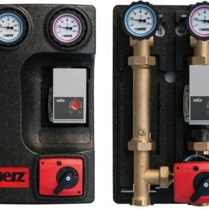 Grup de pompare Herz PUMPFIX MIX, cu by-pass 0÷50%, cu pompa, kvs 10, DN 25, cod 1 4511 49