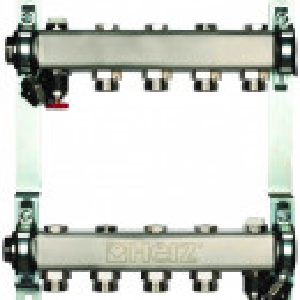 Set distribuitoare inox Herz Armaturen pentru radiatoare, cu inchidere, DN25, G3/4, cu 9 cai, cod 1 8634 09