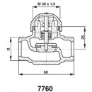 "Robinet cu ventil termostatic Herz model drept cod 1 7760 03 DN 10 (1/2"") kvs=1"